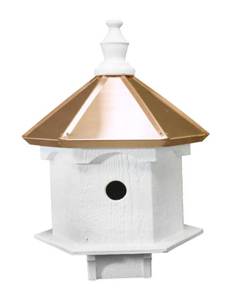 Amish double bluebird birdhouse with a copper roof, handcrafted in the USA