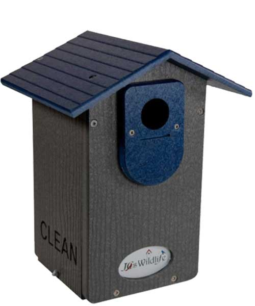JCs wildlife ultimate bluebird house with a universal mounting pole, (blue and Gray)