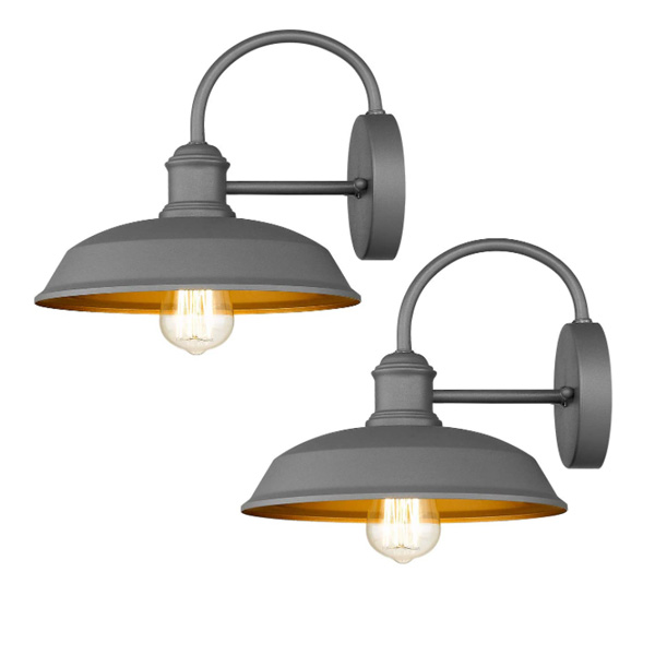 Odeums Farmhouse Barn Lights, Outdoor Wall Lights, Exterior Wall Lamps, Industrial Wall Lighting Fixture, Wall Mount Light in Gray Finish with Copper Interior (Gray, 2 Pack)