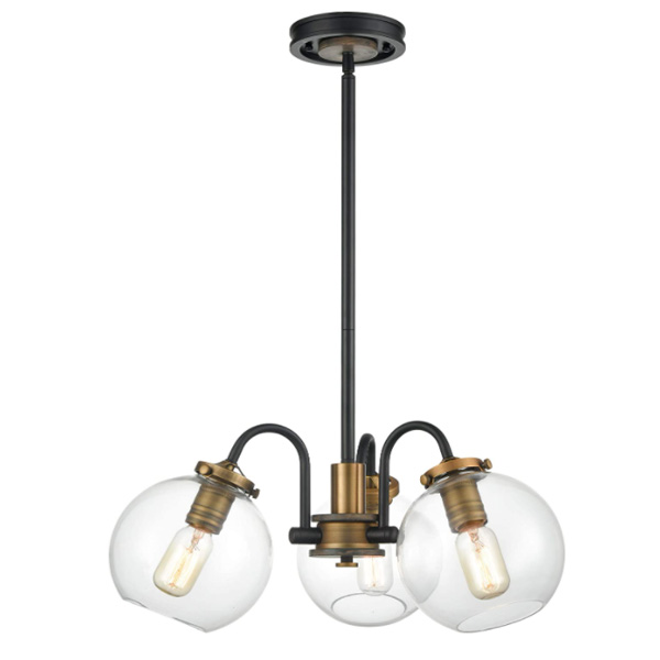 WILDSOUL 10023BK 3-Light Farmhouse Clear Globe Glass Shaded Chandelier, 3 Arms Mid Century Foyer Dining Room Industrial Edison Semi Flush Lights Rustic Wood, Matte Black and Brass Finish, 22