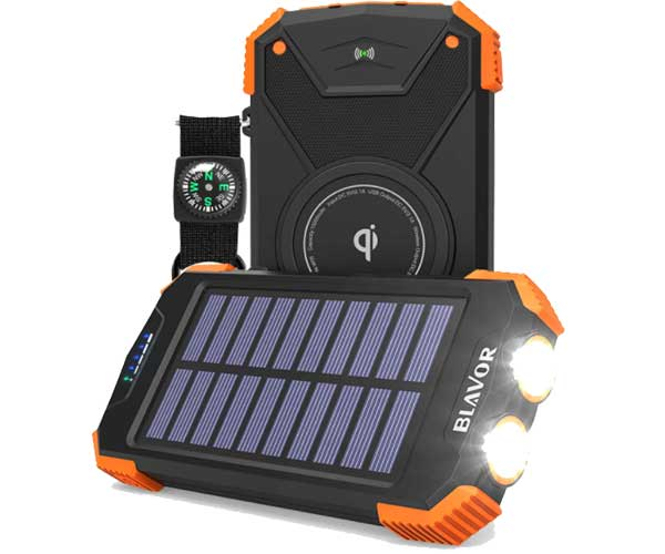 Solar Power Bank, Qi Portable Charger