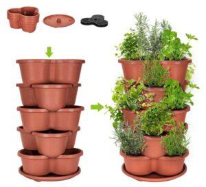 Stackable Planter Vertical Garden for Growing Strawberries